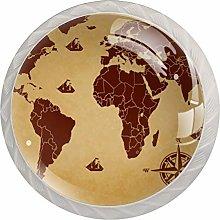 World Map Brown Compass 1.18 Inch Kitchen Cabinet