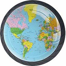 World Map Cabinet Dresser Drawer Knobs Glass Pull