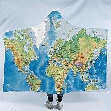 World Map Hooded Blanket Adults Microfiber Sherpa