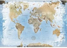 World Map Ice Print Poster in Blue/Beige Longshore