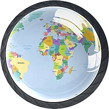 World Map Kitchen and Bathroom Knobs Glass 4 Pack