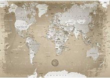 World Map Nature Print Poster in Beige/Grey