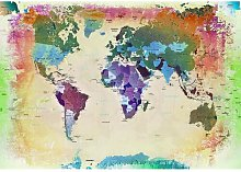 World Map Print Poster in Beige/Green/Purple