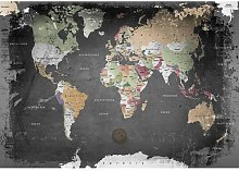 World Map Print Poster in Grey/Beige/Green
