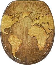 World Map Soft Close Elongated Toilet Seat Sanilo