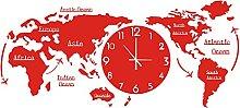 World Map Wall Clock Nordic Modern Minimalist