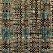 Worn Out Blue Tartan Effect Pattern Velour Velvet