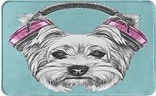 WOTAKA carpet bath mat,rug,Dog With Headphones