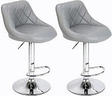 Wottes - 2 pcs bar stool leather adjustable height