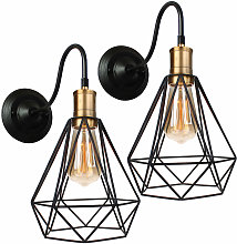 Wottes - 2 pcs Retro metal industrial wall lamp,
