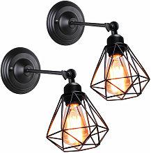 Wottes - 2 pcs Vintage wall lamp, E27 metal cage