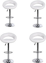 Wottes - 4 pcs adjustable bar stool leather swivel