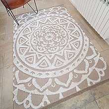 Woven Cotton Beige Floral Mandala Inspired