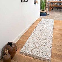 Woven Cotton Taupe Cream Tufted Hi-Low Pile Carpet
