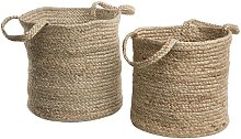 Woven Natural Jute Storage Laundry Basket Bin Set