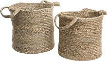 Woven Natural Jute Storage Launry Basket Bin Set