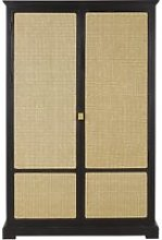 Woven rattan and black wardrobe with 2 doors