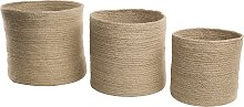 Woven Rope Natural Jute Set of 3 Baskets Storage