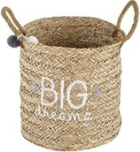 Woven Wicket Printed Basket with Grey Tassel