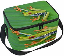WowPrint Insulated Lunch Bag, Green Tree Frog