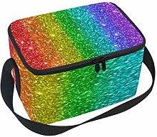 WowPrint Insulated Lunch Bag, Rainbow Glitter