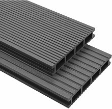 WPC Decking Boards with Accessories 30 m2 4 m Grey