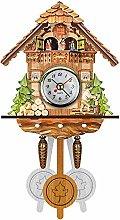 WQEM Cuckoo Clock Retro Nordic Style Wooden Wall