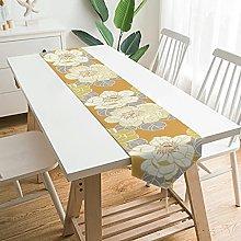 Wraill Modern Plush Table Runner Yellow Flowers