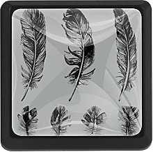 Writing Brush Feather Square Cabinet Knobs