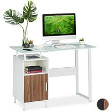 Writing Desk,Glass Work Surface, 2 Shelves, Home