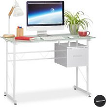 Writing Desk, Modern Office Table with Glass