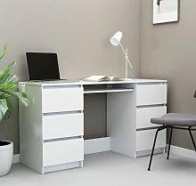 Writing Desk White 140x50x77 cm Chipboard