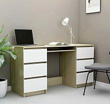 Writing Desk White and Sonoma Oak 140x50x77 cm