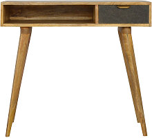 Writing Desk with One Grey Tweed Fabric Drawer