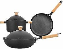 WRMIGN Soup Pot Wok Flat Pan Three Pieces Cast