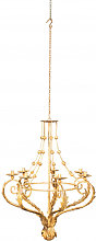 Wrought iron chandelier with antiqued cream finish