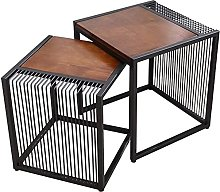 Wrought Iron Side Table Solid Wood Small Round