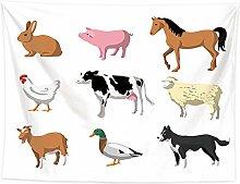 WSJIJY Tapestry Wall Hangings,Cartoon Animal Print