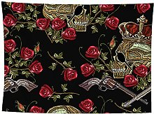 WSJIJY Tapestry Wall Hangings,Crown Skull Plant
