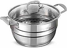 WSJTT Stainless Steel 2-Tier Steamer Cooking Pot,