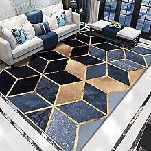 WSKMHK Area Rug For Living Room - Modern Blue Gold
