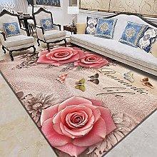 WSKMHK Area Rug For Living Room - Vintage Floral
