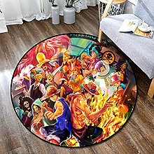 WSSW Anime One Piece Round Area Rug Machine