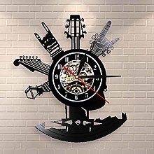 wtnhz LED-Guitar Vinyl Record Wall Clock Musical