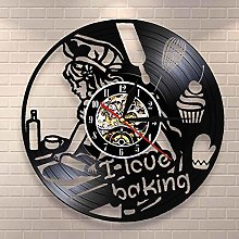 wtnhz LED-I love baking quote wall clock
