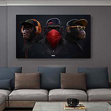 wtnhz Monkey and headphones wall art poster print