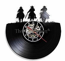 WTTA Vinyl record wall clock with horseshoe and