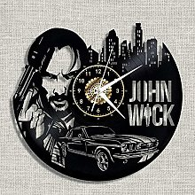 WTTA Vinyl wall clock with gun people vinyl clock