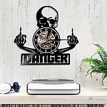 WTTA Vinyl wall clock with middle finger skull