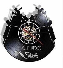 wttian Vinyl Wall Clock-Tattoo Shop Wall
